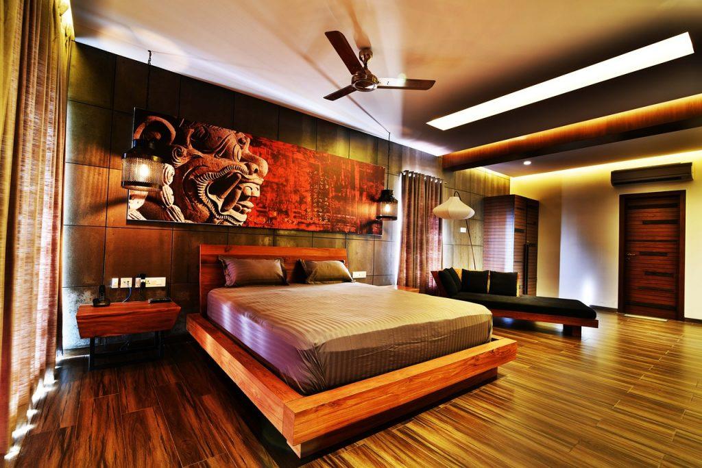 Schlafzimmer im Feng Shui Luxus-Apartment