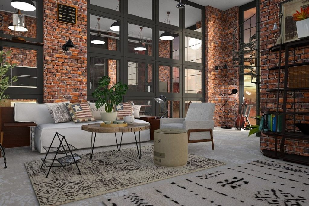 Feng Shui Luxus-Appartement mit industriellen Einrichtungsstil